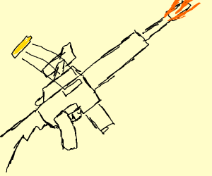 Long, thin cannon firing