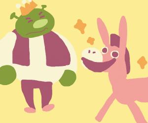 King shrek and pink donkey