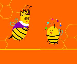 Queen bee watches little bee juggle