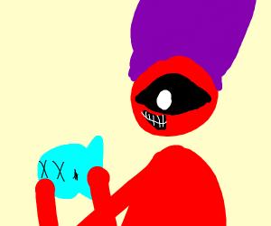 Devil with large hat eats fish