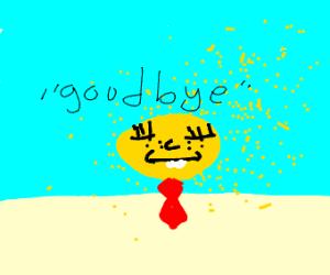 Spongebob disintegrates in horror