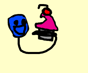 Balloon hand reaching for a cupcake