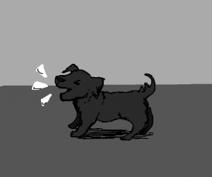 a small dog aggressively barking