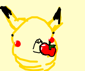 derp pikachu eating apple