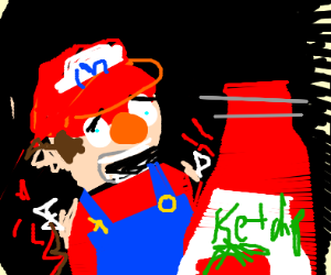 mario lost his arms. ketchup. he screm