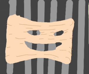 smiling human flesh is stretched on bars