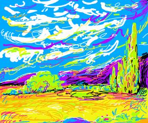 Van Gogh painting cypresses