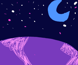 purple planet with a blue crescent moon