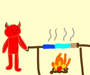 Satan cooking Steve on a spitroast