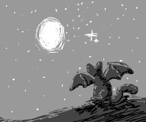 black cat-bat hybrid starring at the moon