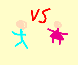 blue shirt man wants to fight pink shirt girl