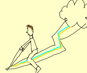 Man riding the lightning.