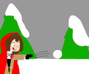 little red riding hood throws snowball