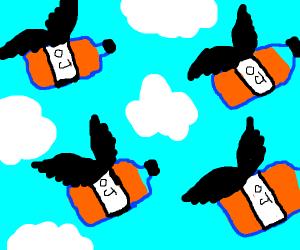 flying orange juice EVERYWHERE