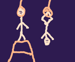 a stickman hangs himself, other one hangs leg