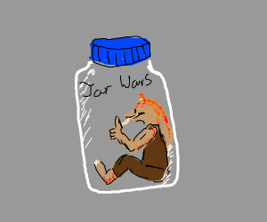 jar jar binks in a jar with a blue cap
