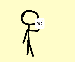 Stick figure holding paper with infinity sign