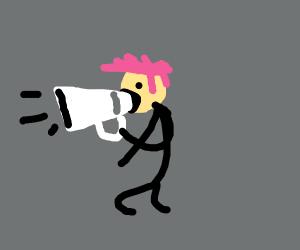 Pink Hair Megaphone Man