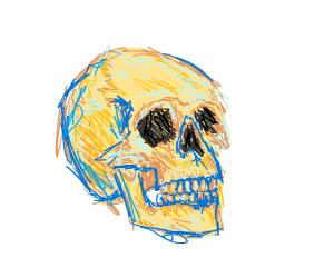 A blue and orange skull