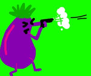 Eggplant with a gun