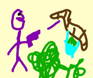 Strange Purple Man Killing Worms And kelp