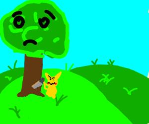 Pikachu sawing a sad tree