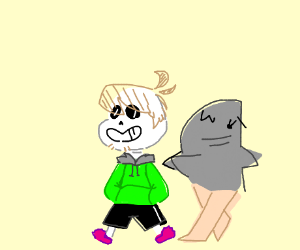 Shaggy fused with sans and a shark with legs