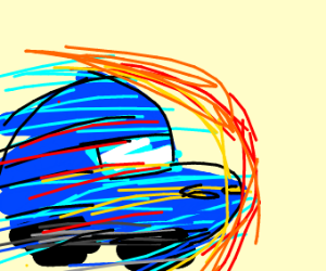 Speeding blue car.