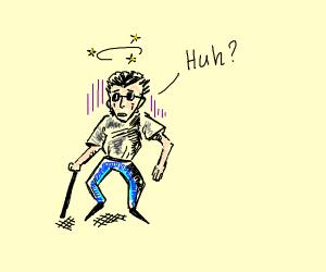 Confused blind man