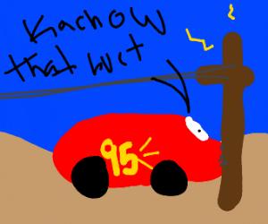 "Lightning McQueen crashes ""Kachow that hurts"""