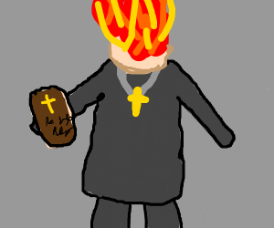 priest with his head on fire
