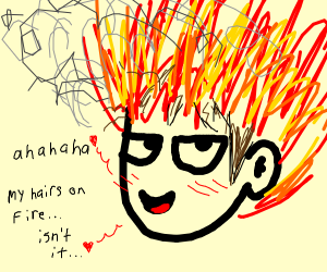 Man with flaming hair laugh-cries seductively