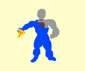 Pepis man has a pizza