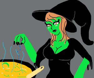 busty witch adding stuff into cauldron