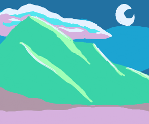 Mountains in front of the night sky