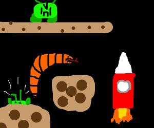 platformer enemy giant orange space worm