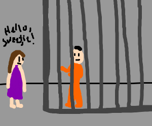 Wife talking to husband that is in jail