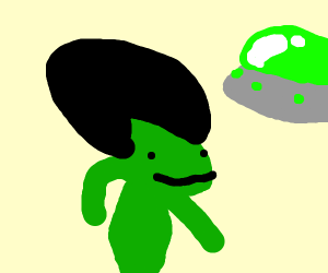 Green Alien with a fro
