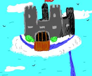 Castle floating in ac cloud