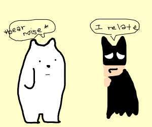 Ice bear making friends with batman
