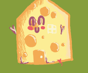 Happy House made out of cheese
