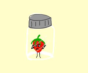Strawberry man in jar