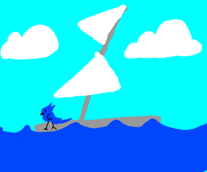 a blue chick on a boat