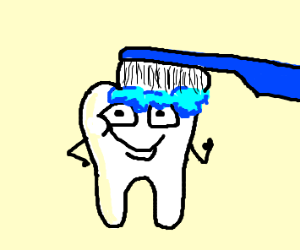 A happy tooth getting brushed