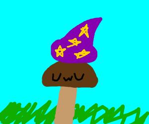 uwu mushroom in a wizard hat