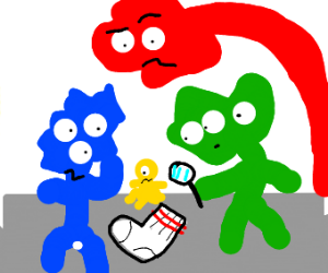 A bunch of strange beings investigate a sock