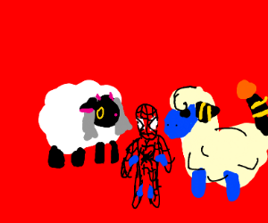 Wooloo Mareep Pointing Spider-Man