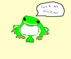 Frog telling you to look at his balls