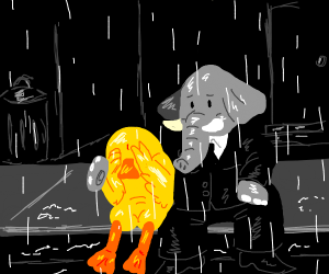elephant in suit consoles crying duck