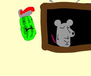 a weird grenade watching a weird rat on tv